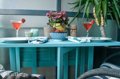 Outdoor Table Upgrade with Provence Chalk Paint® decorative paint by Annie Sloan | By Waffling