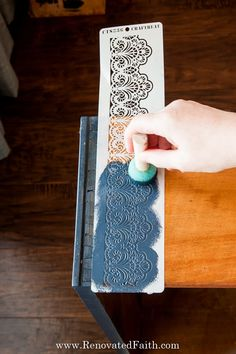 Don't let your next project be ruined because of paint bleeding through your stencil. In this post, I share 5 easy to stencil on wood perfectly every time! Stencil Letters On Wood, Stencils For Wood Signs, Stencil Wood, Letter Stencils, Laminate Furniture, Chalk Paint Furniture, Wood Furniture, Stenciled Curtains, Stenciled Table