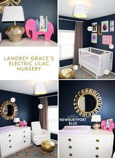 electric-lilac-nursery dark walls white and gold accents + a mirror