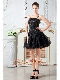 Black A-line Straps Short Prom Dress Organza Beading Mini-length- $118.59  http://www.fashionos.com  discount prom dress | junior prom party dress | custom made prom formal dress | elegant prom graduation dress | sexy prom evening dress | 2014 prom dress | cheap taylor swift prom cocktail dress | plus size hollywood prom homecoming dress | free shipping short prom dress | nicki minajs evening dress |