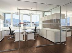 Mampara divisoria de vidrio de oficina Muro acristalado RG - BENE