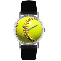 Buy Whimsical Watches Softball Lover Black Leather And Silvertone Photo Watch new - Our Softball Lover Watch features a Softball face and makes a unique gift for any Softball enthusiast or Softball fan that loves the long ball the fast pitch or stolen. Best Watch Brands, Online Watch Store, Sport Watches, Gold Style, Fashion Watches, Whimsical, Black Leather, Pitch, Fan