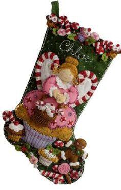 Bucilla Cupcake Angel Stocking - Yep, here it is, Riley's stocking...as it will HOPEFULLy look before 12/24/12