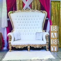 baby throne chair dining room cushion covers gold and white chairs for party rental great as a royal shower theme venues showers