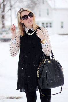 printed sheer blouse, high collar dress, statement necklace