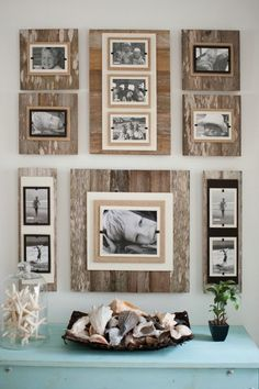 Discover thousands of images about Fotowände und Fotocollagen Ideen - Fotowand aus Holz Unique Home Decor, Diy Home Decor, Room Decor, Pallet Pictures, Ideas For Hanging Pictures, Hang Pictures, Decorating With Pictures, School Pictures, Collage Picture Frames