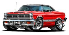 67 fairlane | 1966-67 Fairlane GT GTA 260 390 427 Cartoon Car Wall Graphic Decal ...