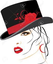 Illustration of Portrait of beautiful woman in a elegant hat with red rose vector art, clipart and stock vectors. Illustrations, Illustration Art, Painting People, Vector Art, Vector Stock, Line Art, Art Drawings, Drawing Faces, Pop Art