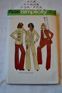 Vintage Simplicity 7696 Pattern Misses Shirt Jacket and Pants Size 16 DIY Sewing Crafts PanchosPorch