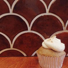 http://mercurymosaics.com/tile_patterns/moroccan-fish-scales/ The perfect backdrop for homemade #pumpkinspice cupcakes - Moroccan Fish Scales in our 906W Burnt Sugar glaze!