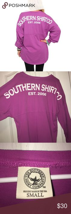 Jersey pullover Southern Shirt Company jersey pullover. Size small but as most pullovers, they are oversized. Purple/Pink color. Worn a handful of times but is still in pretty good condition. Has small oil stains on the front. southern shirt co Tops Tees - Long Sleeve