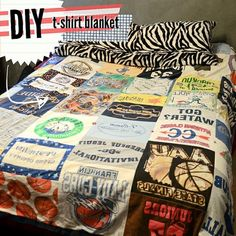 DIY: t-shirt blanket  old rock t- shirts for a music themed bed room very cool