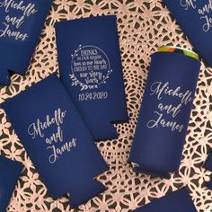 Gift these useful favors to your friends and family to use during your wedding and then take home to remember your wedding day every time they enjoy a cold beverage. Made of high quality, machine washable neoprene, these collapsible can sleeves fit comfortably in a back pocket and will last longer than sponge foam beer can coolers. Small Thank You Gift, Thank You Gifts, Wedding Favors, Wedding Reception, Wedding Day, Personalized Cocktail Napkins, Coolers, Wedding Designs, Beverage