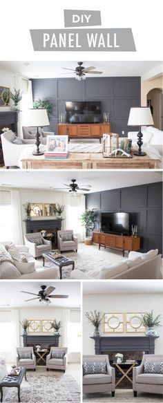 Chic Family Room Makeover with DIY Panel Wall Not all home makeovers have to be expensive or time-co Accent Walls In Living Room, Accent Wall Bedroom, Living Room White, Living Room Paint, New Living Room, Living Room Modern, Living Room Designs, Living Room Decor, Small Living