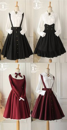 Here is a collection of Lolita outfits from Miss Point. Most Lolita outfits including Lolita dresses, skirts, blouses etc can be custom sized per your request. Witch Dress, Witch Outfit, Vintage Outfits, Vintage Dresses, Fashion Vintage, Vintage Fashion Sketches, 1890s Fashion, Tomboy Fashion, Lolita Fashion