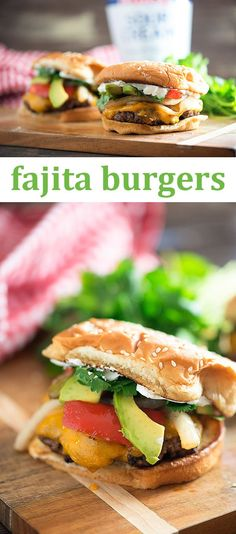 These fajita burgers are topped with grilled veggies, avocado, cheese, and a dollop of sour cream! Perfect for summer grilling.