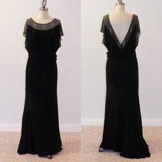 1930s Bias Cut Dress | 1930s Dress, Black Bias Cut Full Length Hollywood Starlet Evening Gown ...