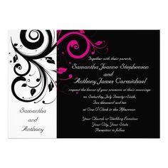 Black/White/Magenta Bold Swirl Wedding Invitations #wedding #invitations