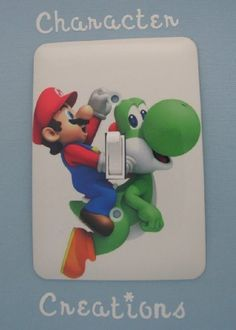 "MARIO and YOSHI / Super Mario Bros Design Standard Metal Light switch Cover (Switch plate Switchplate) by Character Creations. $12.00. NOT a Sticker.  Image is heat sealed into the switchplate, therefore is completely washable.. Mario and Yoshi Design. Beautifully finishes off any room. Standard Size Lightswitch Cover (3 1/2"" x 5""). High Quality Steel Switchplate with Beautiful Satin Finish. This is a fantastic addition to any bedroom, recroom or office and is made from High Q..."