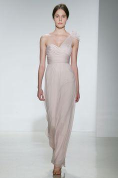Amsale - Spring 2014  TAGS:Floor-length, Pleats, One-Shoulder, Nude, Pink, Lilac, Amsale, Organza, Elegant