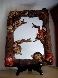 trollen spiegel van fimo klei