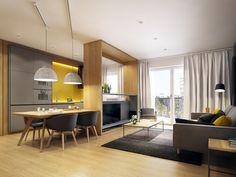 Современный дизайн-проект кухни-гостиной