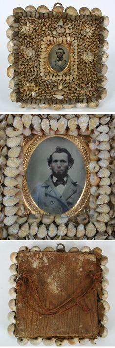 Victorian Shell Art Picture Frame Civil War Soldier