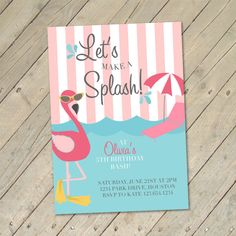 Flamingo Pool Party Invitation by OllieAndLulu on Etsy, $12.99