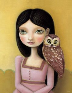 Girl and owl art print green big eyes brunette pink dress black hair LARGE print 11x14 woodland pop surrealism Evelyn by Marisol Spoon. $30.00, via Etsy.
