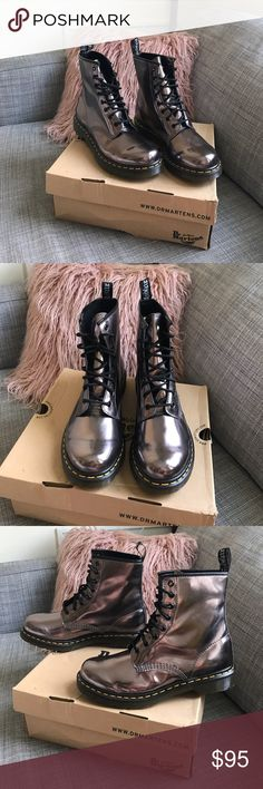 Dr Marten 1460 Metallic Boots Never worn, new with box, perfect condition! Note on sizing: Dr. Martens says these are a UK 8, US 10, EU 42. Dr. Martens US size always runs one size bigger so these are truly a US women's size 11. Dr. Martens Shoes Combat & Moto Boots