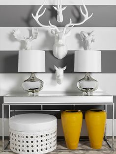 Gray and white #stripe painted walls look great in a #entry or #foyer