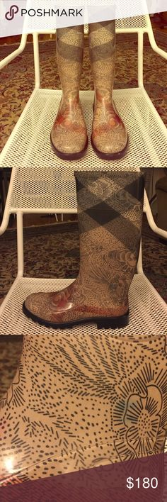 Burberry Rain Boots - Rare - Paisley printed Burberry Rain Boots. Basically new, worn a few times. There is minor scuffing, and small ink stain (blue stain shown in photo) ❤️ Burberry Shoes Winter & Rain Boots