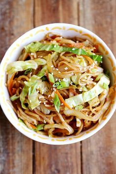 Onion, Cabbage, Carrot & Rice Noodle Stir Fry. #food