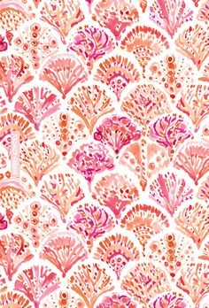 CORAL CAMO Mermaid Fish Scales Pattern by Barbarian | Click through to shop & download a phone background with this print. | #scallop #watercolor #mermaid #coral #nautical