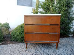 MID CENTURY MODERN 3 Drawer Dresser Changing Table —