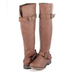 Cognac Riding Boots Super cute riding boots with buckles around the bottom and top! The toe of one boot has a very small scuffed tear but otherwise in great condition! XOXO Shoes