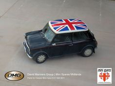 Classic Mini with Union Jack Roof at the David Manners Grouphttp://www.jagspares.co.uk/Mini/company.asp