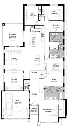 Good living/dining/alfresco set up Bedroom House Plans, Dream House Plans, House Floor Plans, Pool House Designs, Bungalow House Design, Interior Design Living Room, Living Room Designs, Shipping Container House Plans, Simple House Design