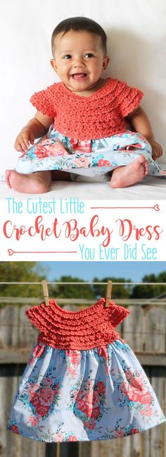 Crochet this adorable baby dress with fabric skirt. Free crochet pattern. Such a great handmade baby gift idea!