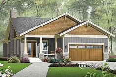 W3241-v1 - Craftsman With Double Garage, Covered Terrace And 3 Bedrooms