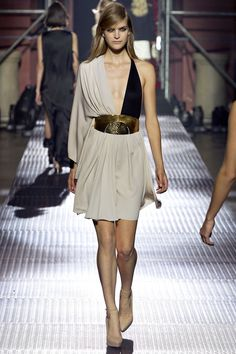 SPRING 2013 READY-TO-WEARLanvin - this looks grecian inspired and paired with the bronze belt and nude platform heels, it's styled perfectly