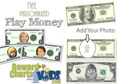 Free printable play money that can be personalized Free Printable Behavior Chart, Templates Printable Free, Play Money Template, Bill Template, Planner Template, Fake Money Printable, Classroom Money, Nursing Home Activities, Behaviour Chart