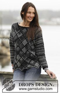 """Knitted DROPS jumper with domino squares and raglan in """"Fabel"""" and """"Alpaca"""". Size: S - XXXL. ~ DROPS Design"""