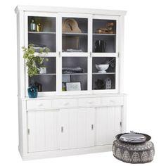 Vaisselier en pin avec portes vitr�es Lagos blanc