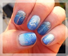 My nail stamping art: Gradiant done with SC Celestial, CC Endless Summer & SC Bikini.  Stamping is DRK-C in CC Beyond, CC Harp On It & SC Snow Me White.