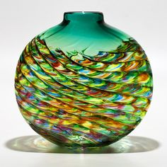 Emerald Optic Rib Vase by Michael Trimpol and Monique LaJeunesse: Art Glass Vase available at www.artfulhome.com