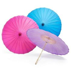 Plain Wedding Paper Parasols - Colors: White, Fuchsia, Blue, etc ...