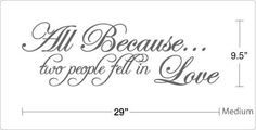 Because.. two people fell in Love   Vinyl Wall Art Quote Decal