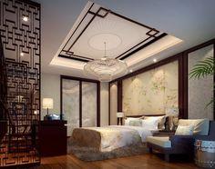 Asie Chambre des maîtres avec Jaipur tapis - modèle solide tapis shag, intégré dans la bibliothèque, les planchers de bois franc, Lustre