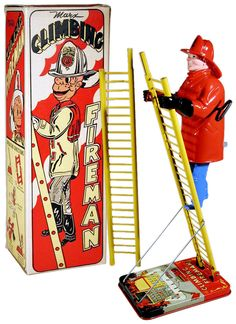 Marx, Climbing Fireman - have this.  Got this because there was a firehouse across the street & we knew all the firemen like family.  Will eventually go to my son, Vaughn, Lt. with Baltimore City Fire Dept.